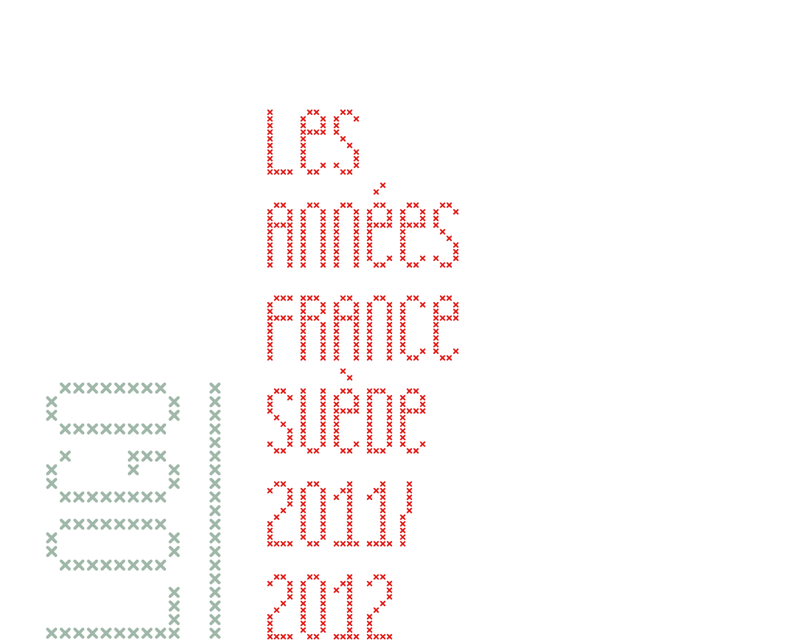 """Red cross-stitched logo of """"Année de la France en Suède"""", a school assignment in typography class for a cultural exchange program between France and Sweden (the later was up to me to choose)."""