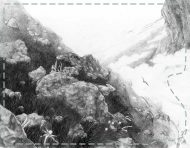 """The Cliffs"", an original drawing by messalyn (thumbnail)."