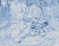 """Upside-down Mermaid"", an original etching by messalyn (thumbnail)."