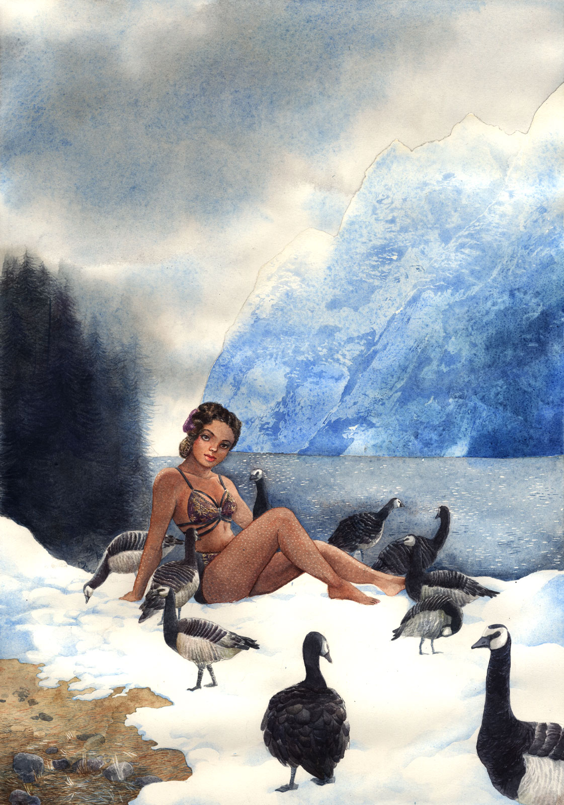 A black pinup posing by a lake in the moutains with realistic goosebumps on her skin and actual gooses frolicking in the snow.