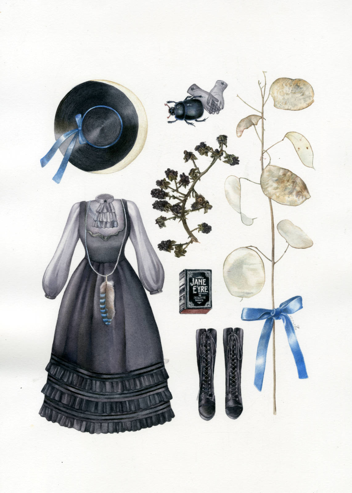Technical illustration of a herbarium made up with fashionable lolita clothing of gothic obedience, and an overall witch theme : dried blackthorn and lunaria branchs, a moon hat, boots, a copy of Jane Eyre, a beetle and blue ribbons