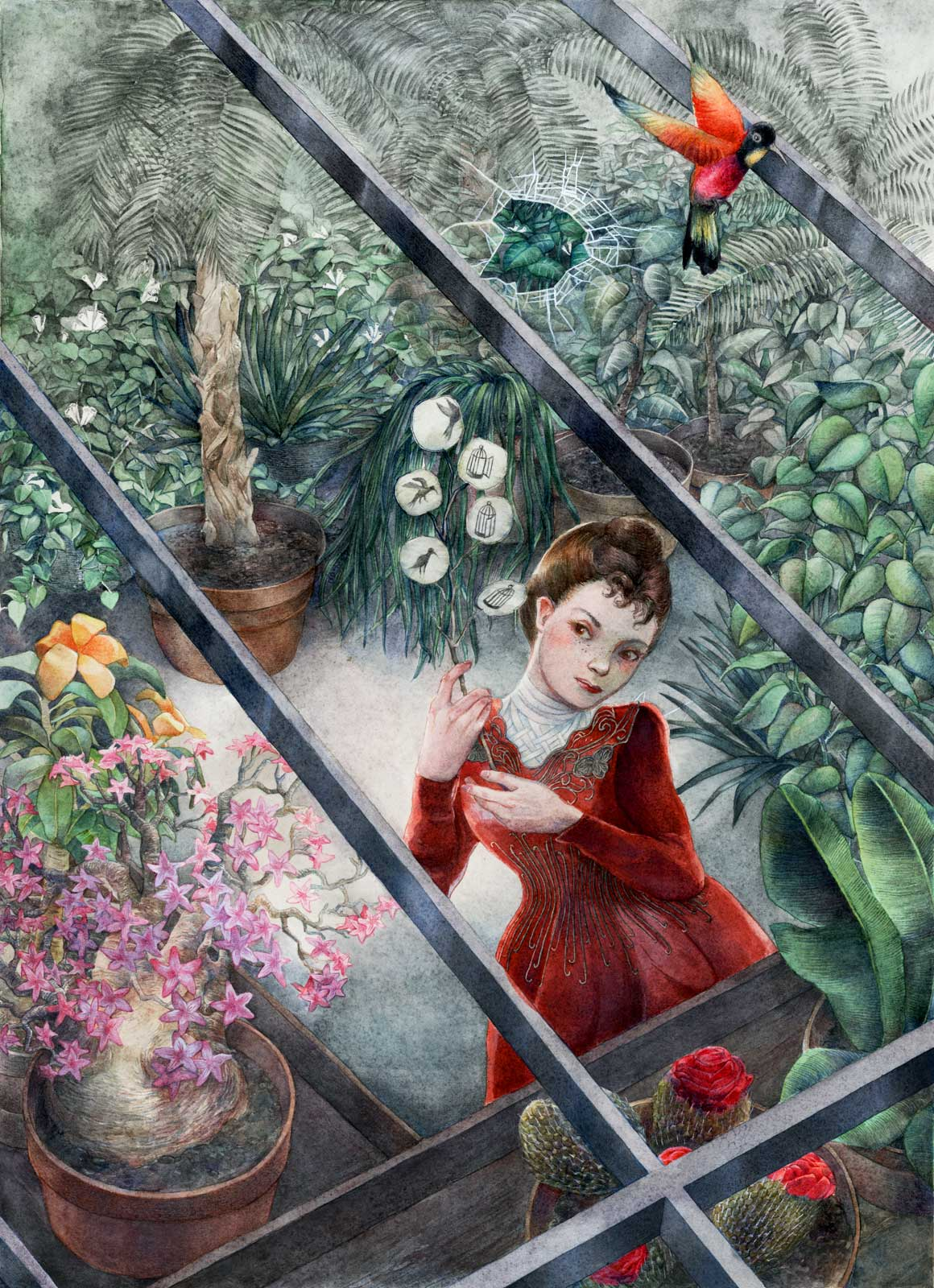 Late victorian lady in a red gown in a greenhouse full of plants holding a lunaria branch on which is represented an animation of a bird breaking free of its cage and even of the greenhouse glasses.