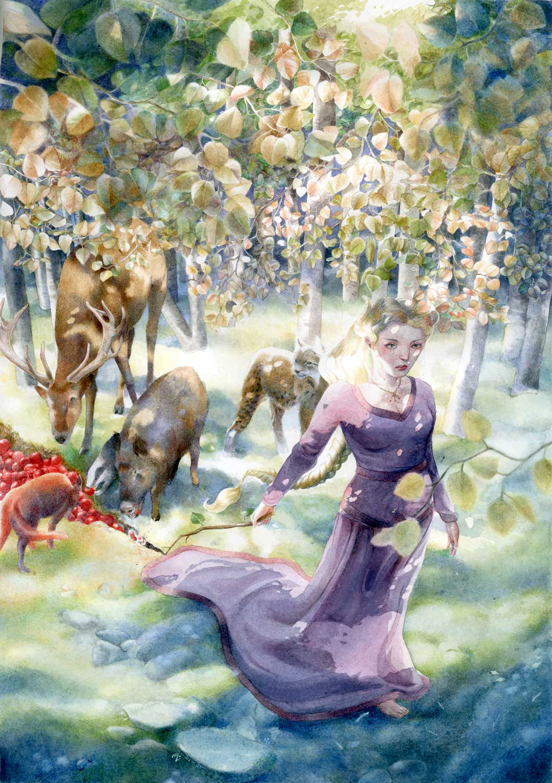 A wood nymph in a medieval gown walks through the forest bringing forth plenty of food for its inhabitants.