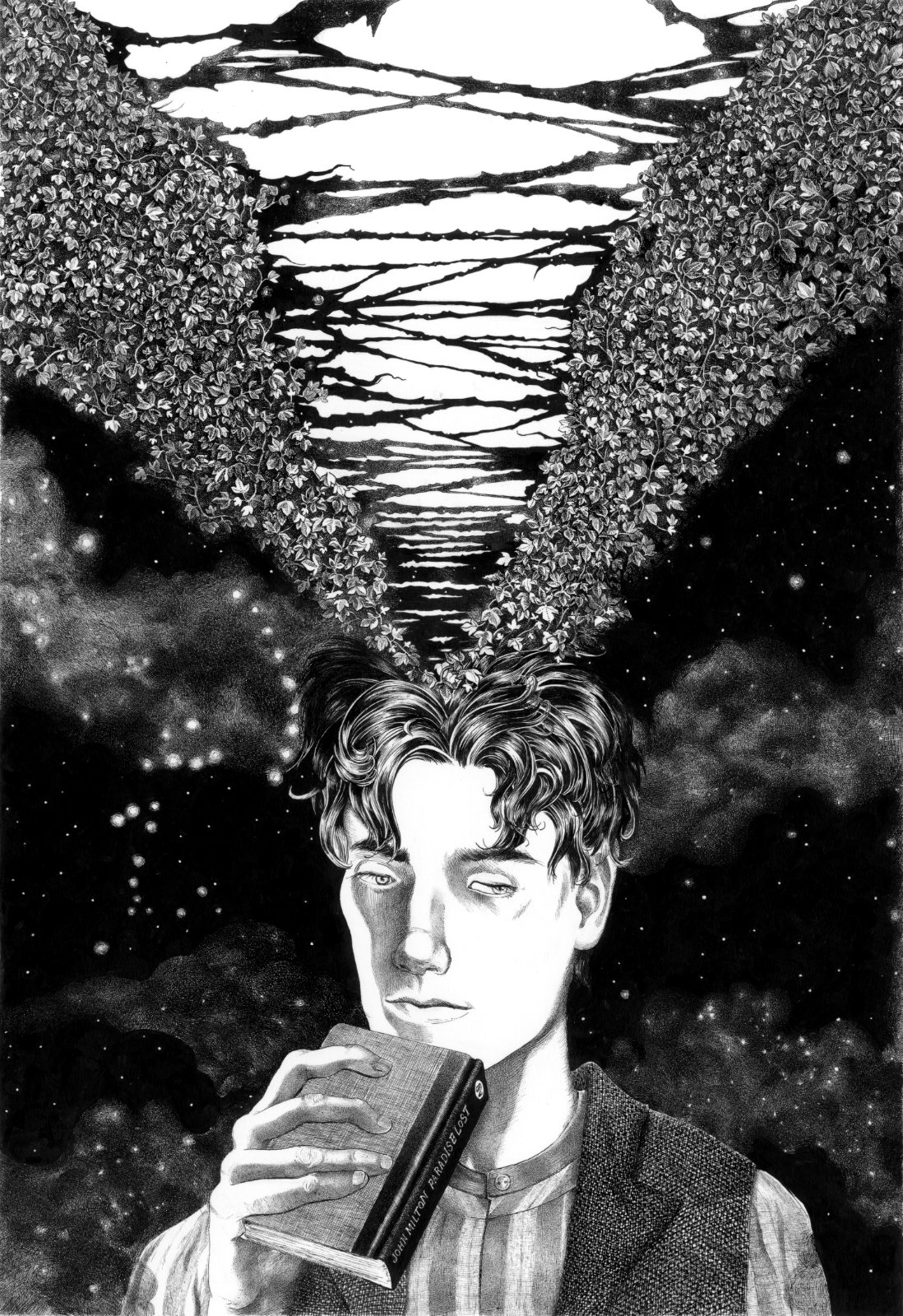 """Fern Adelstadt, a teenager boy in edwardian era holding the book """"Paradise Lost"""" by John Milton while Ivy is tearing away his whole universe. Mainly ink with touches of Pigma Sakura Micron on 200g Schoellehammer Durex Technical paper smooth, 21 x 29.7 cm."""