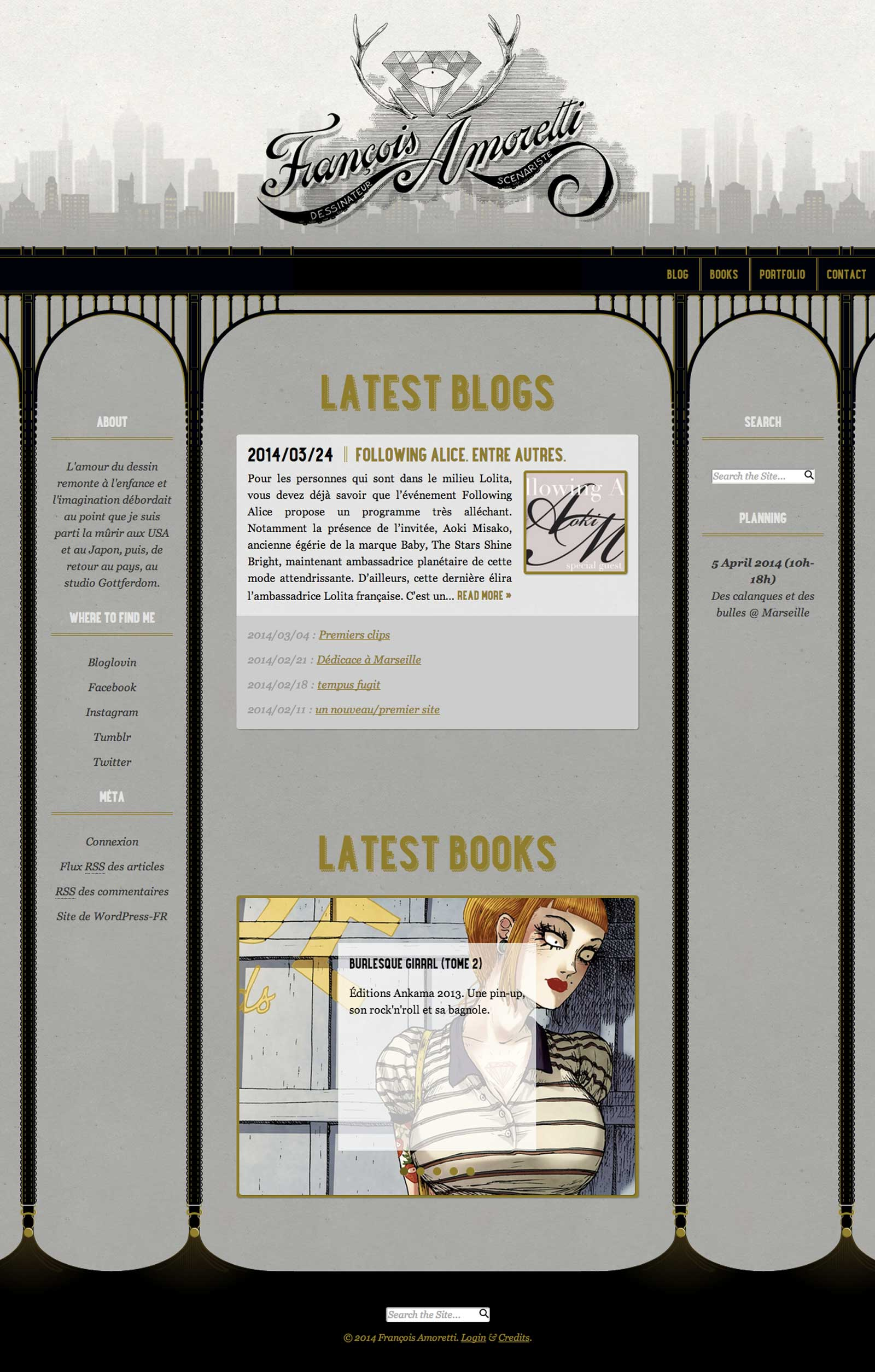 Home page of francoisamoretti.com, an illustration and comic books portfolio for french, aix-en-provence based illustrator and writer François Amoretti