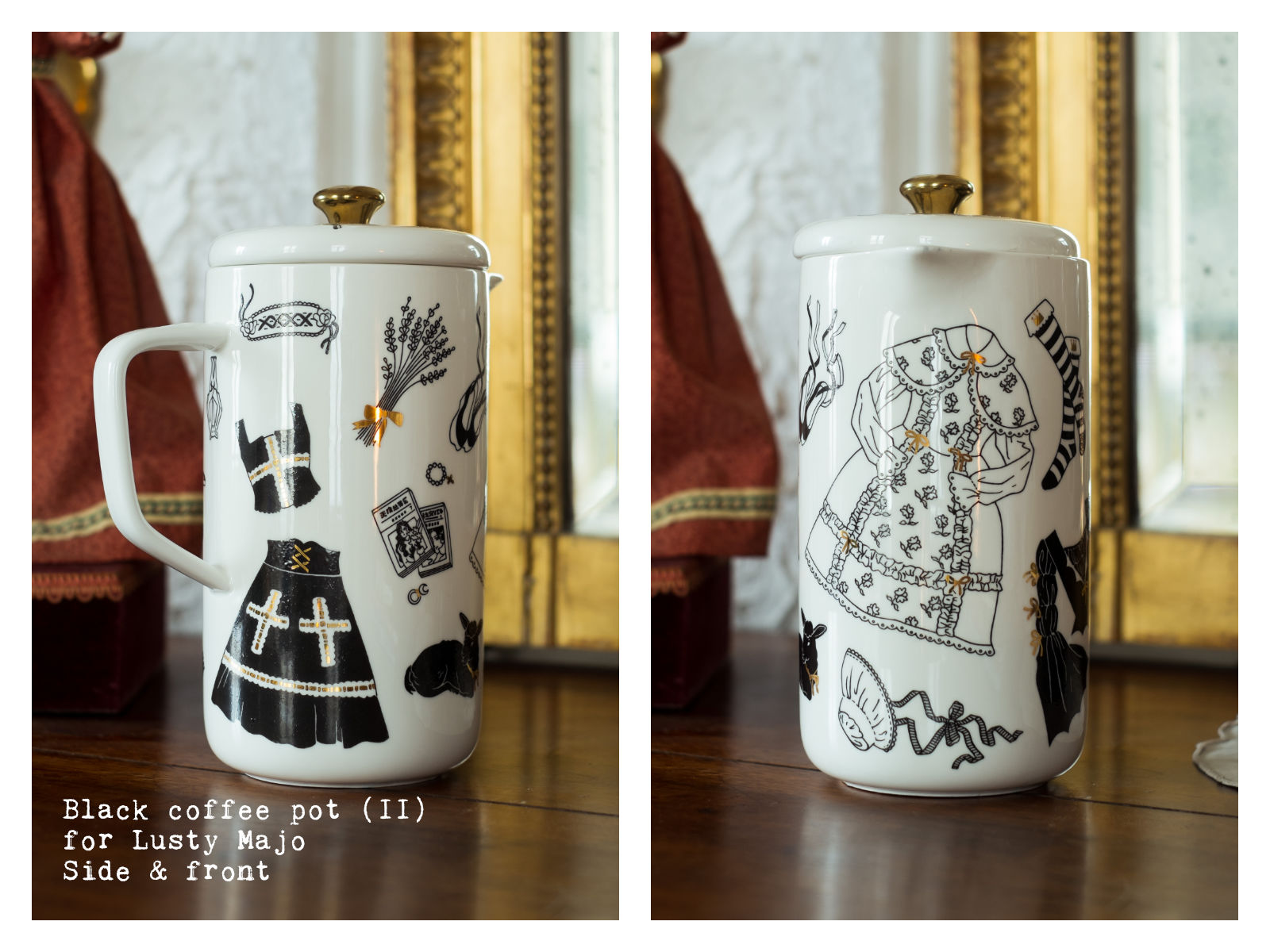 """Side & front of a black coffee pot (II) for Lusty Majo from """"Oldschool Lolita"""", a collection of painted porcelains by messalyn."""