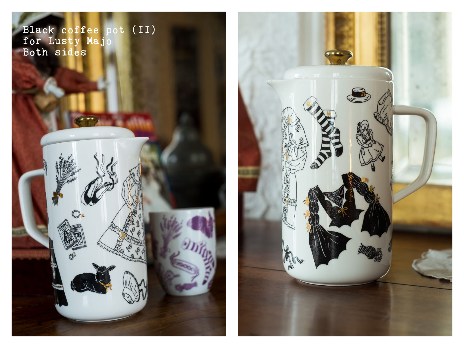 """Sides of a black coffee pot (II) for Lusty Majo from """"Oldschool Lolita"""", a collection of painted porcelains by messalyn."""