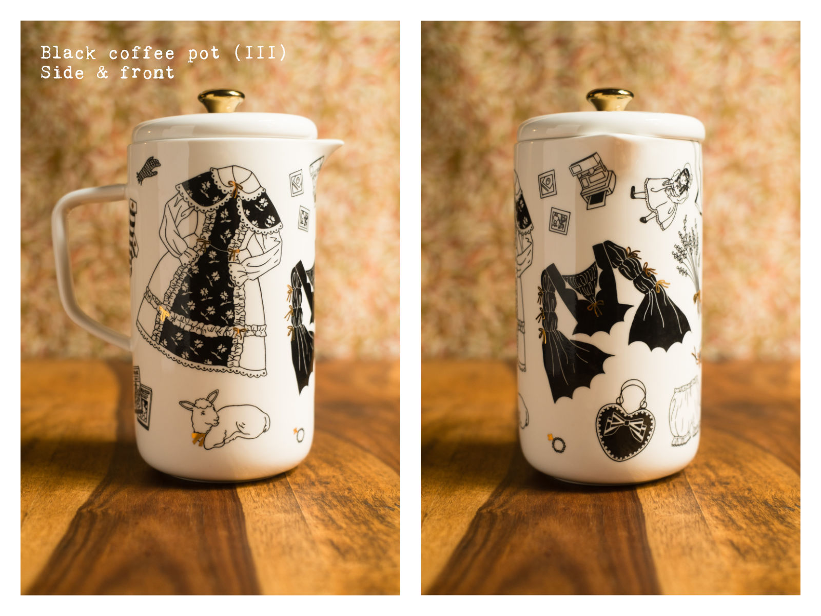 """Side & front of a black coffee pot (III) from """"Oldschool Lolita"""", a collection of painted porcelains by messalyn."""