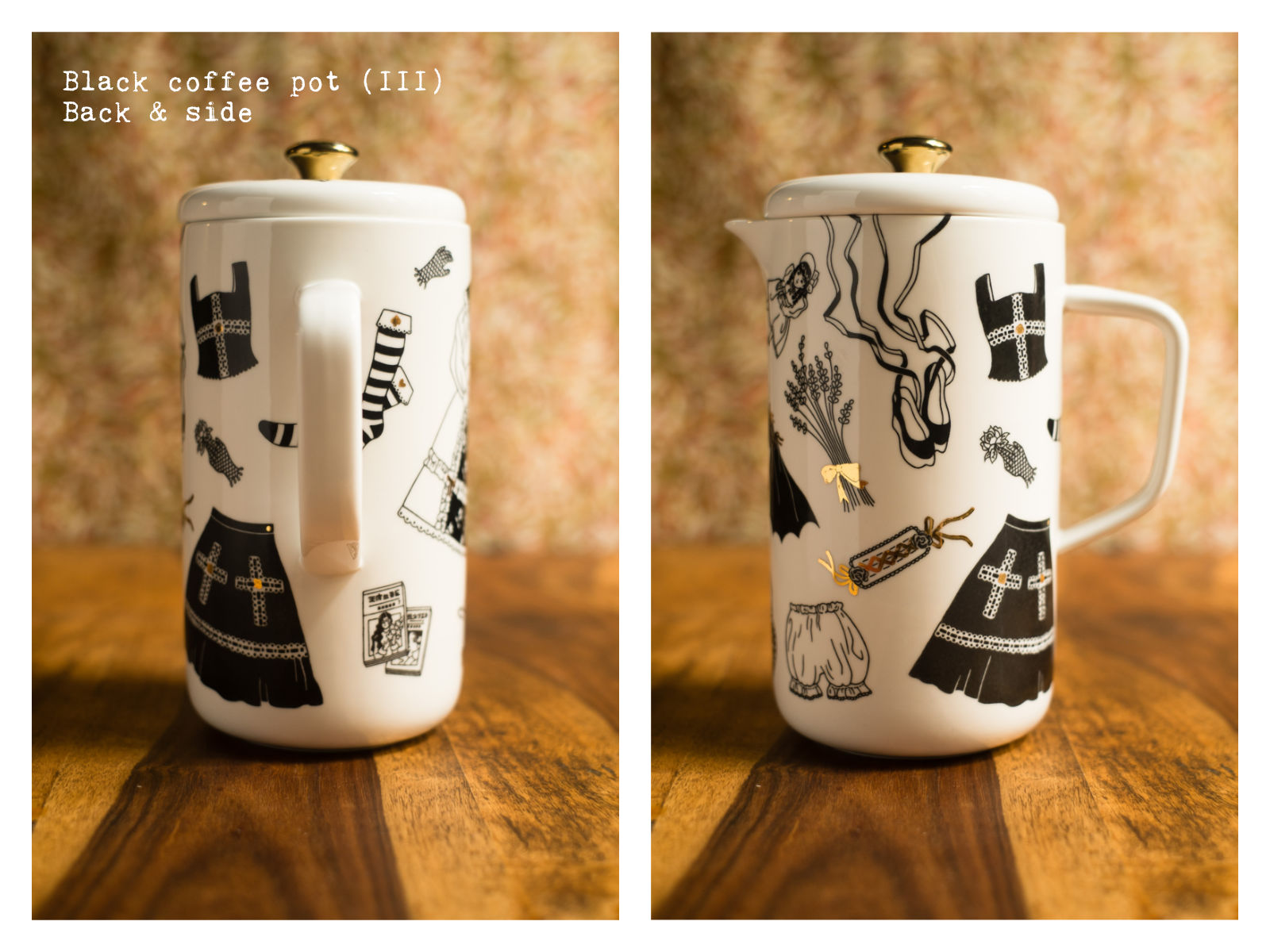 """Back & side of a black coffee pot (III) from """"Oldschool Lolita"""", a collection of painted porcelains by messalyn."""