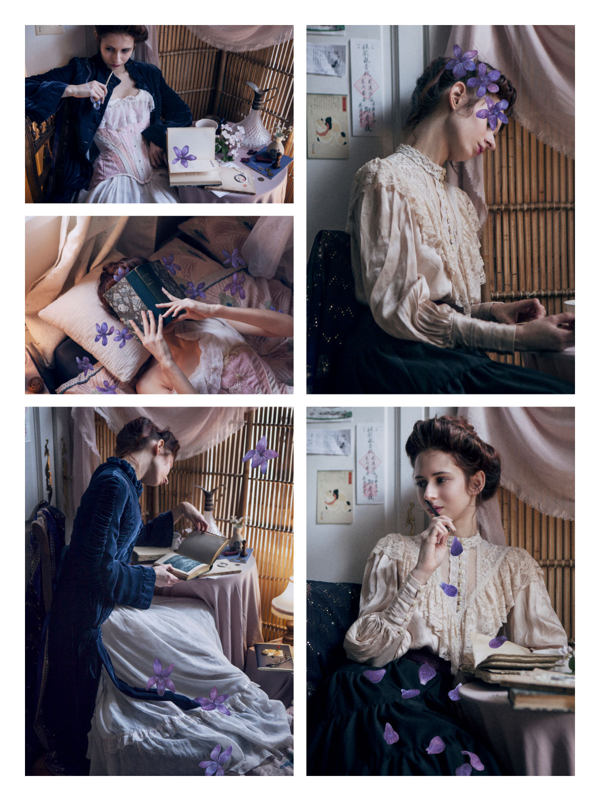 """""""À la deux fois née"""", a mixed media collaboration between poetess and model Anne-Rebecca Willing, photographer Solène Ballesta and messalyn for the watercoloured violets."""