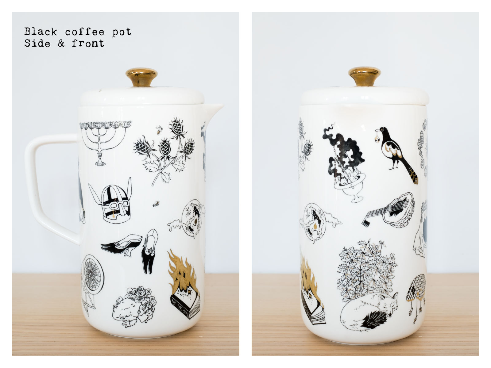 "Side & front of a black coffee pot from ""Enchanteresse"", a collection of painted porcelains by messalyn."