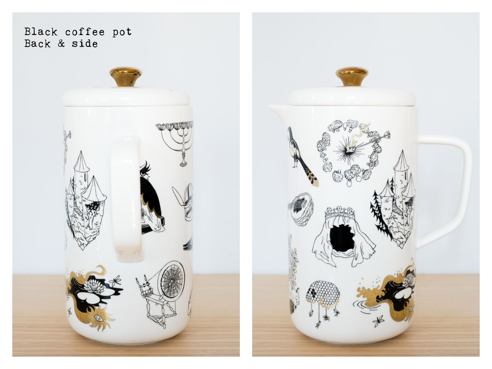 "Back & side of a black coffee pot from ""Enchanteresse"", a collection of painted porcelains by messalyn."