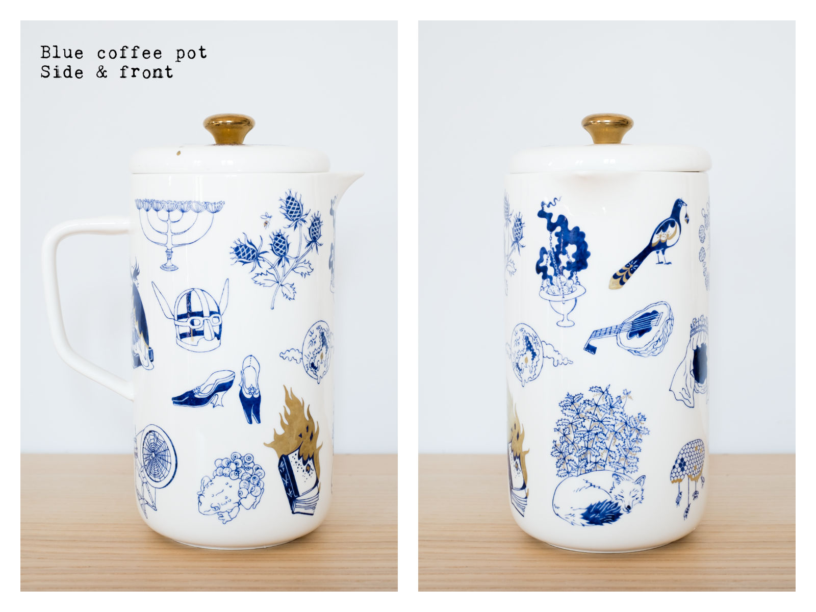 "Side & front of a blue coffee pot from ""Enchanteresse"", a collection of painted porcelains by messalyn."