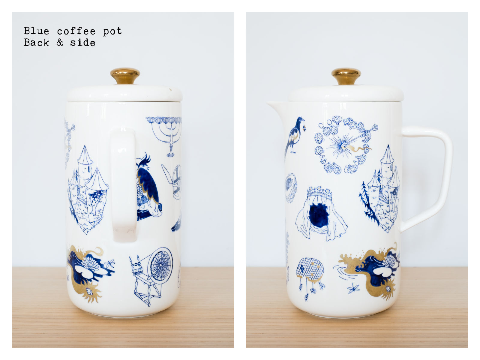 "Back & side of a blue coffee pot from ""Enchanteresse"", a collection of painted porcelains by messalyn."