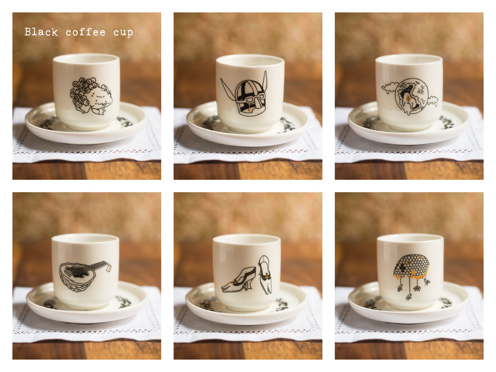 "Black coffee cups from ""Enchanteresse"", a collection of painted porcelains by messalyn."