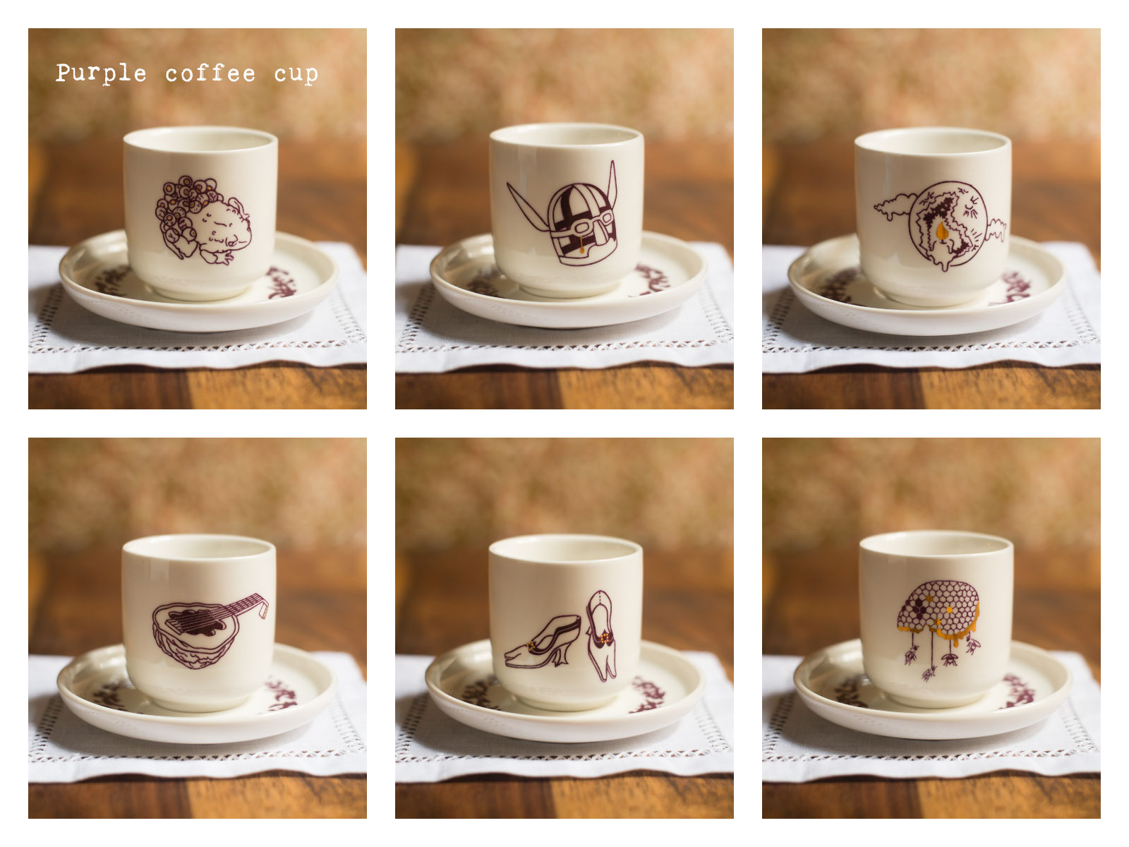 "Purple coffee cups from ""Enchanteresse"", a collection of painted porcelains by messalyn."