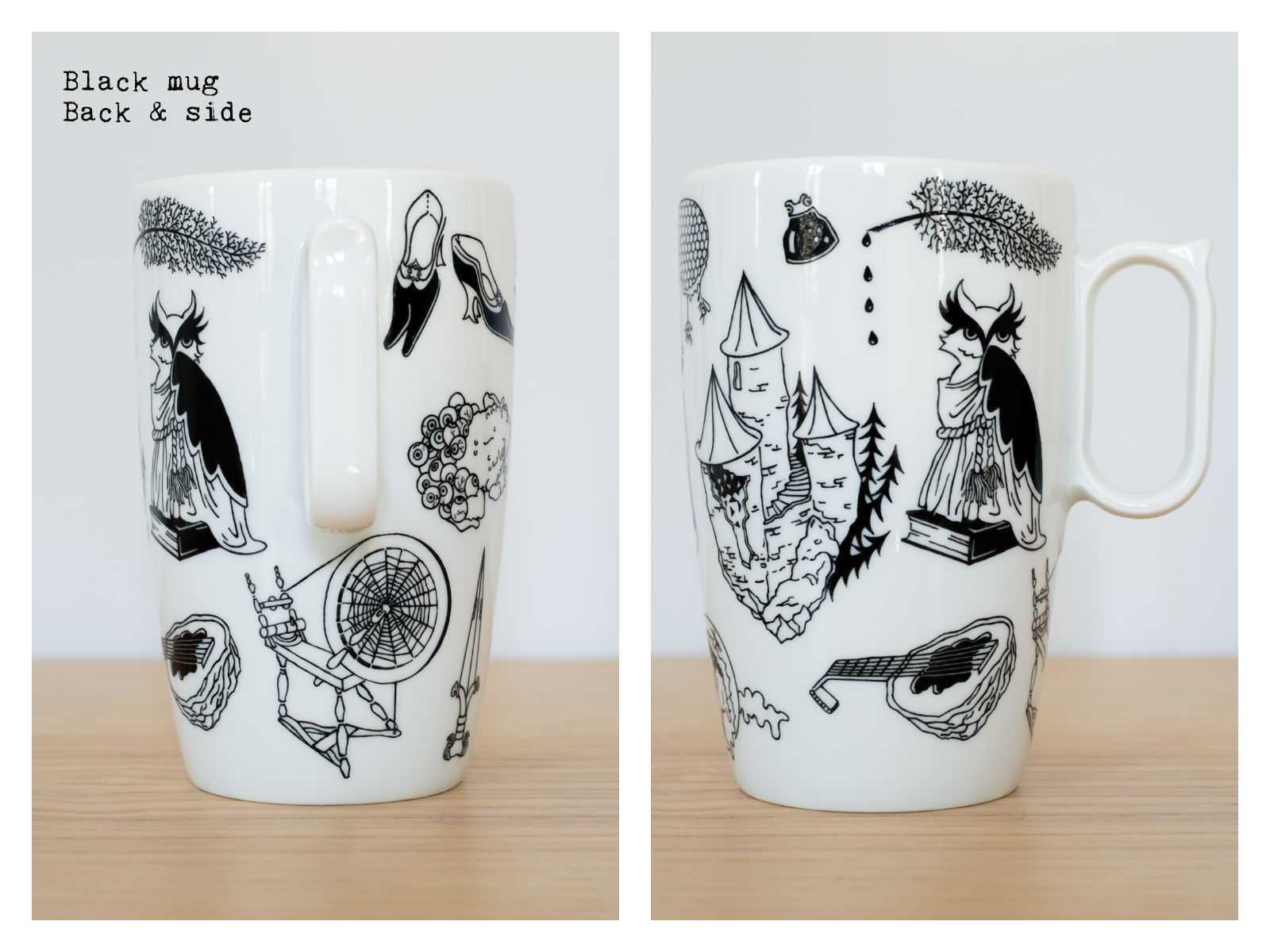 "Back & side of a black mug from ""Enchanteresse"", a collection of painted porcelains by messalyn."