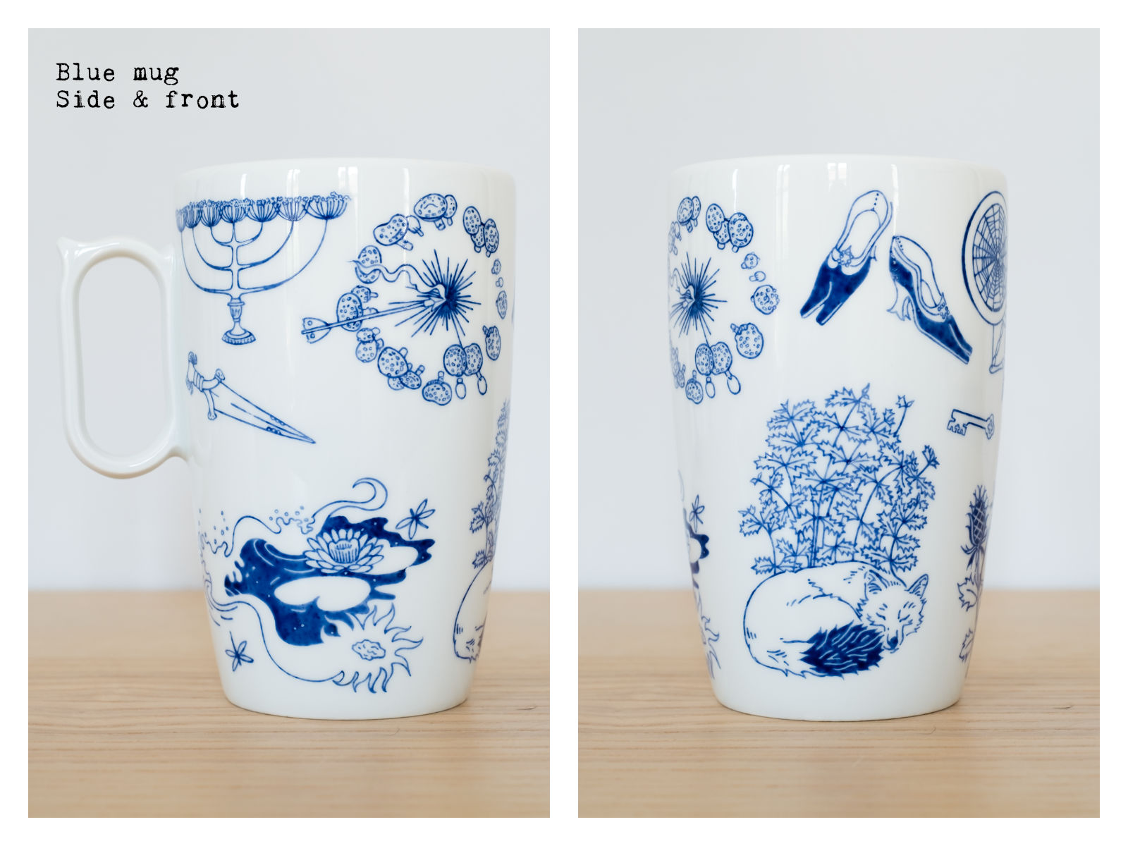 "Side & front of a blue mug from ""Enchanteresse"", a collection of painted porcelains by messalyn."