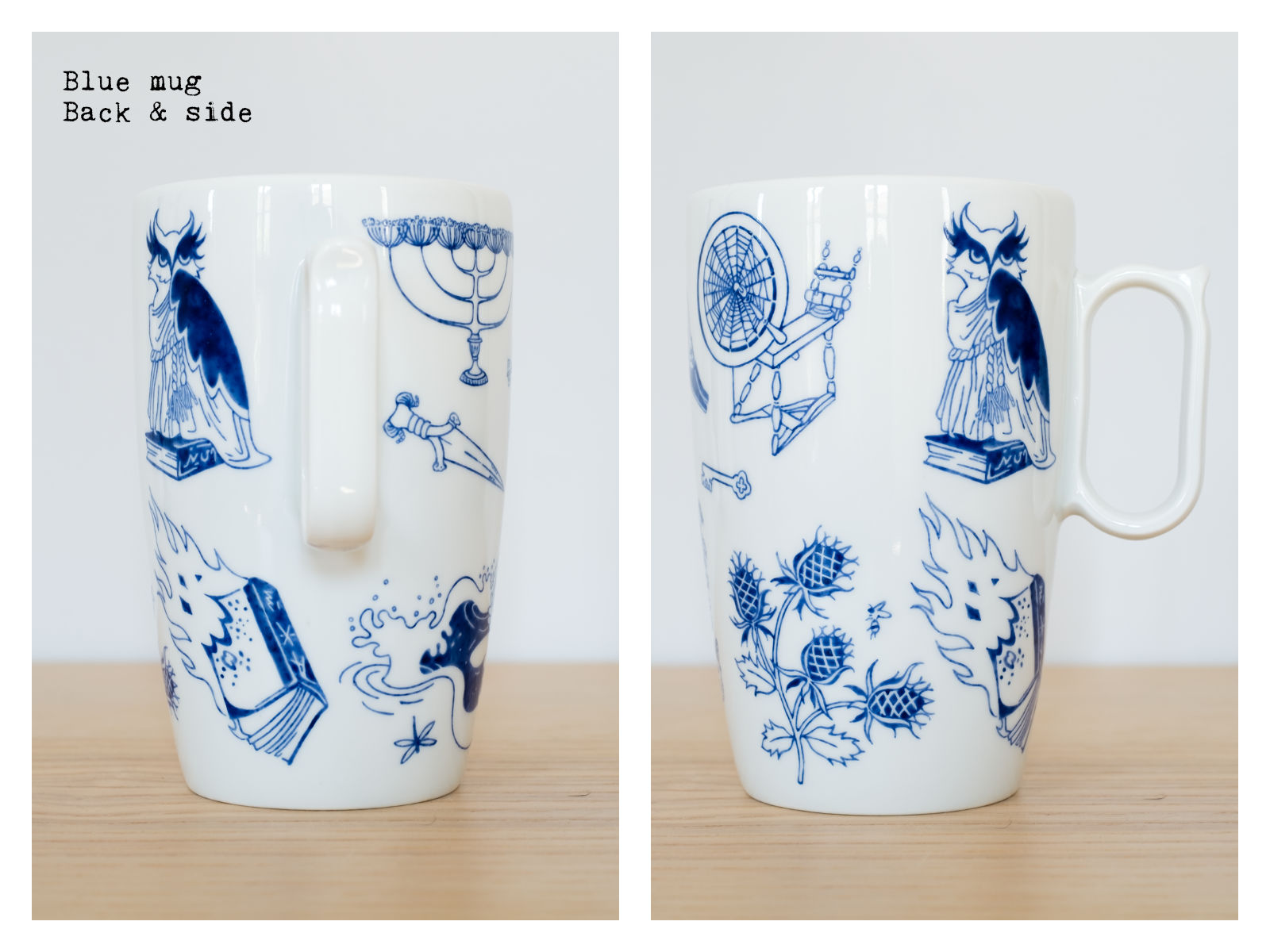 "Back & side of a blue mug from ""Enchanteresse"", a collection of painted porcelains by messalyn."