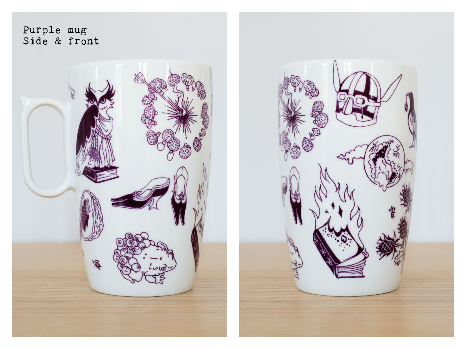 "Side & front of a purple mug from ""Enchanteresse"", a collection of painted porcelains by messalyn."