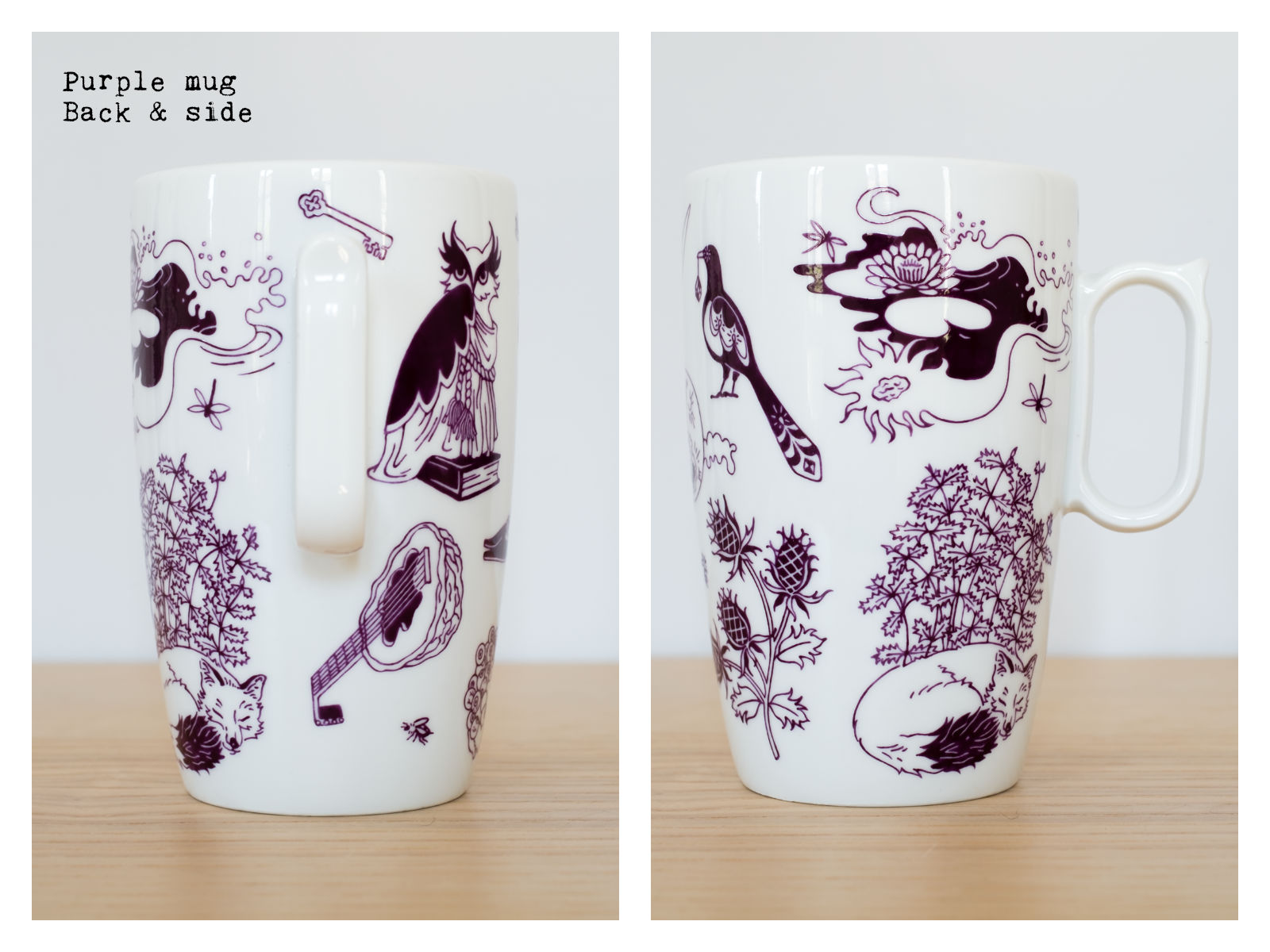 "Back & side of a purple mug from ""Enchanteresse"", a collection of painted porcelains by messalyn."