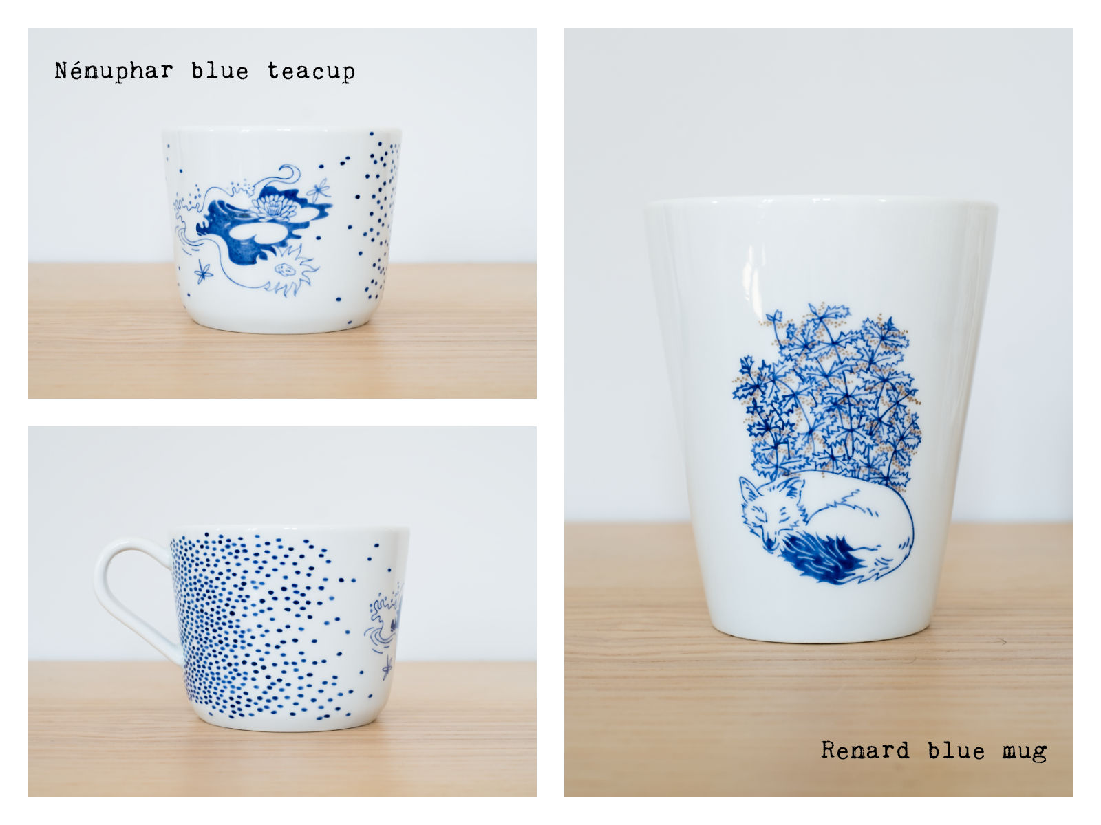 """Nénuphar"" blue teacup & ""Renard"" blue mug from ""Enchanteresse"", a collection of painted porcelains by messalyn."