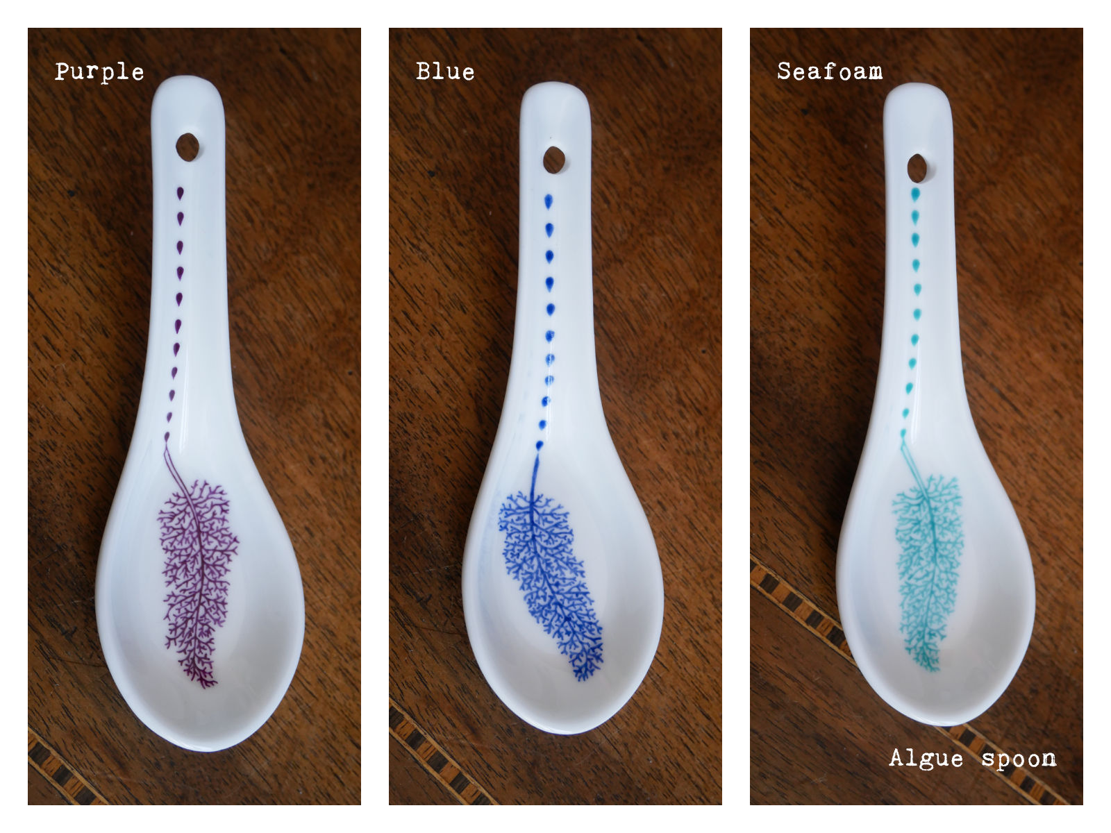 "Algue spoons in purple, blue and seafoam from ""Enchanteresse"", a collection of painted porcelains by messalyn."