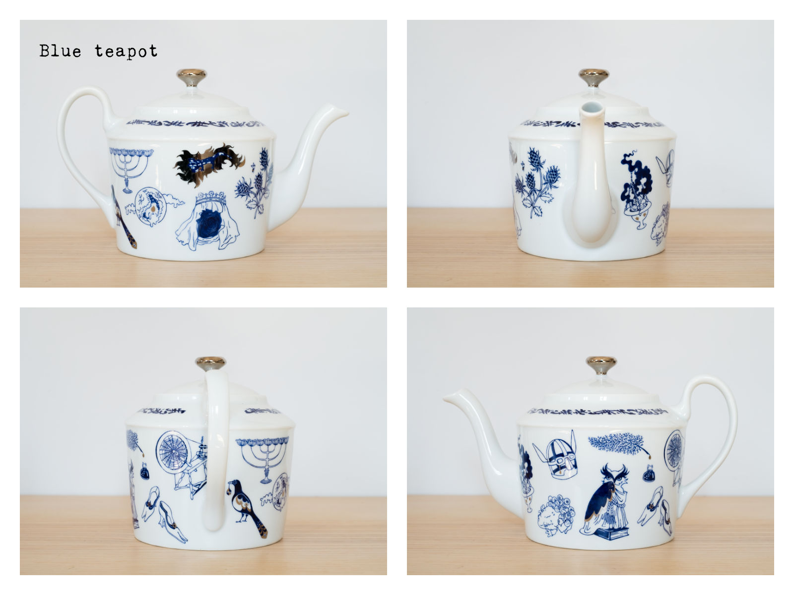 "Blue coffee pot from ""Enchanteresse"", a collection of painted porcelains by messalyn."
