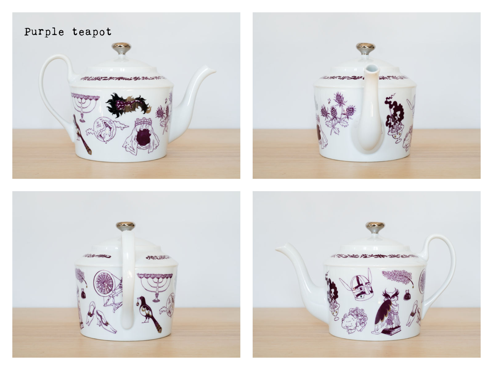 "Purple coffee pot from ""Enchanteresse"", a collection of painted porcelains by messalyn."