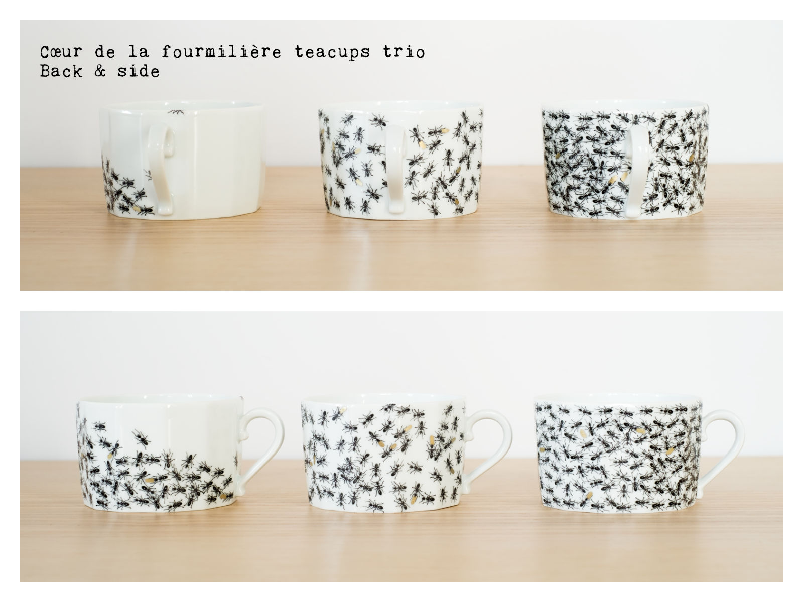 "Back & side of the ""Cœur de la fourmilière"" teacups trio from ""Fourmis"", a collection of painted porcelains by messalyn."