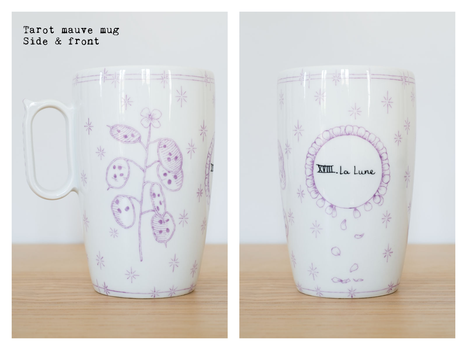 "Side & front of the ""Tarot"" mauve mug from ""Lune"", a collection of painted porcelains by messalyn with haïkus by Anne-Rebecca Willing. Lettering by Le Hibou Philosophe."