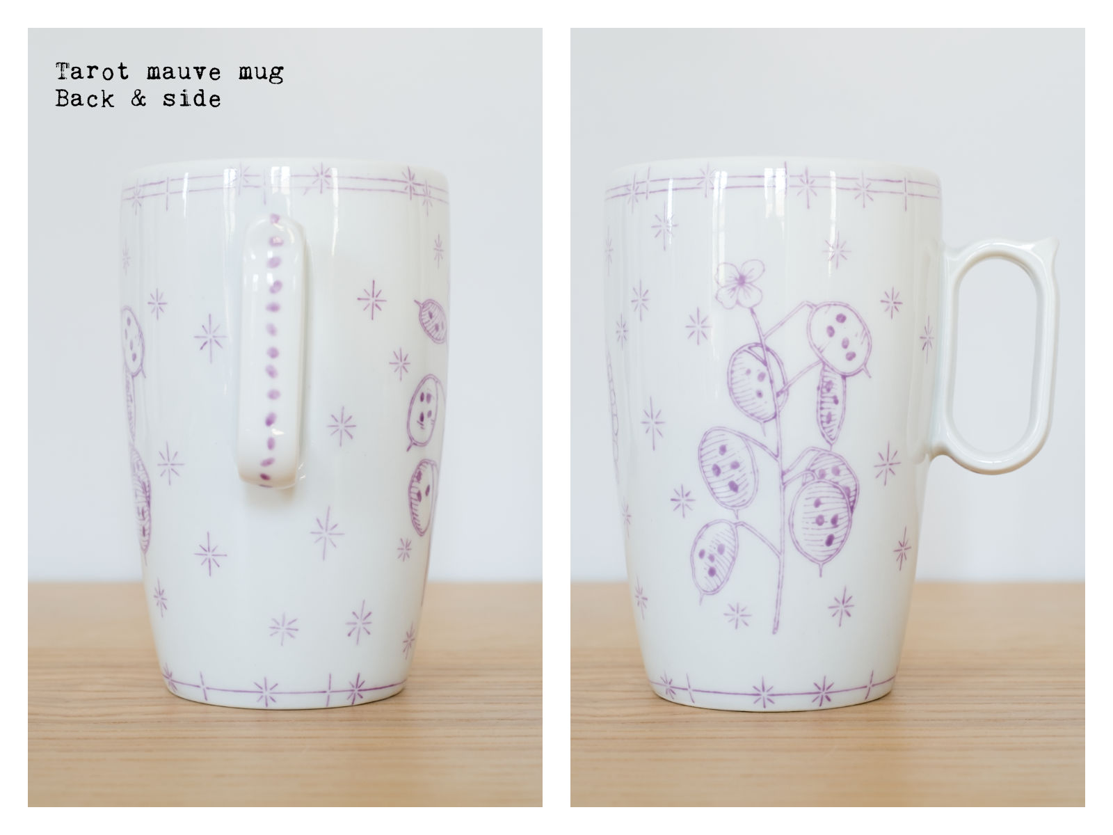 "Back & side of the ""Tarot"" mauve mug from ""Lune"", a collection of painted porcelains by messalyn with haïkus by Anne-Rebecca Willing. Lettering by Le Hibou Philosophe."