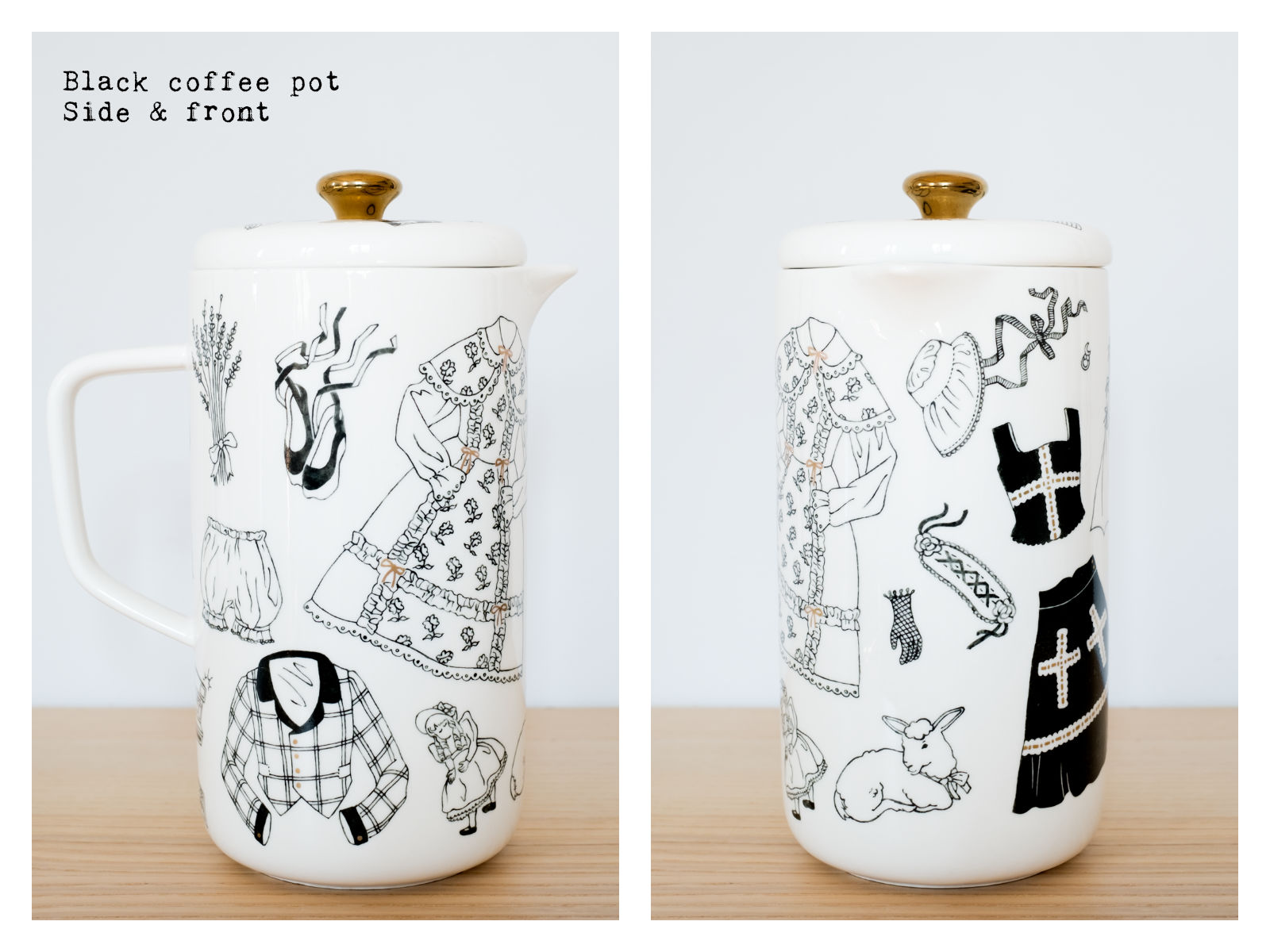"Side & front of a black coffee pot from ""Oldschool Lolita"", a collection of painted porcelains by messalyn."