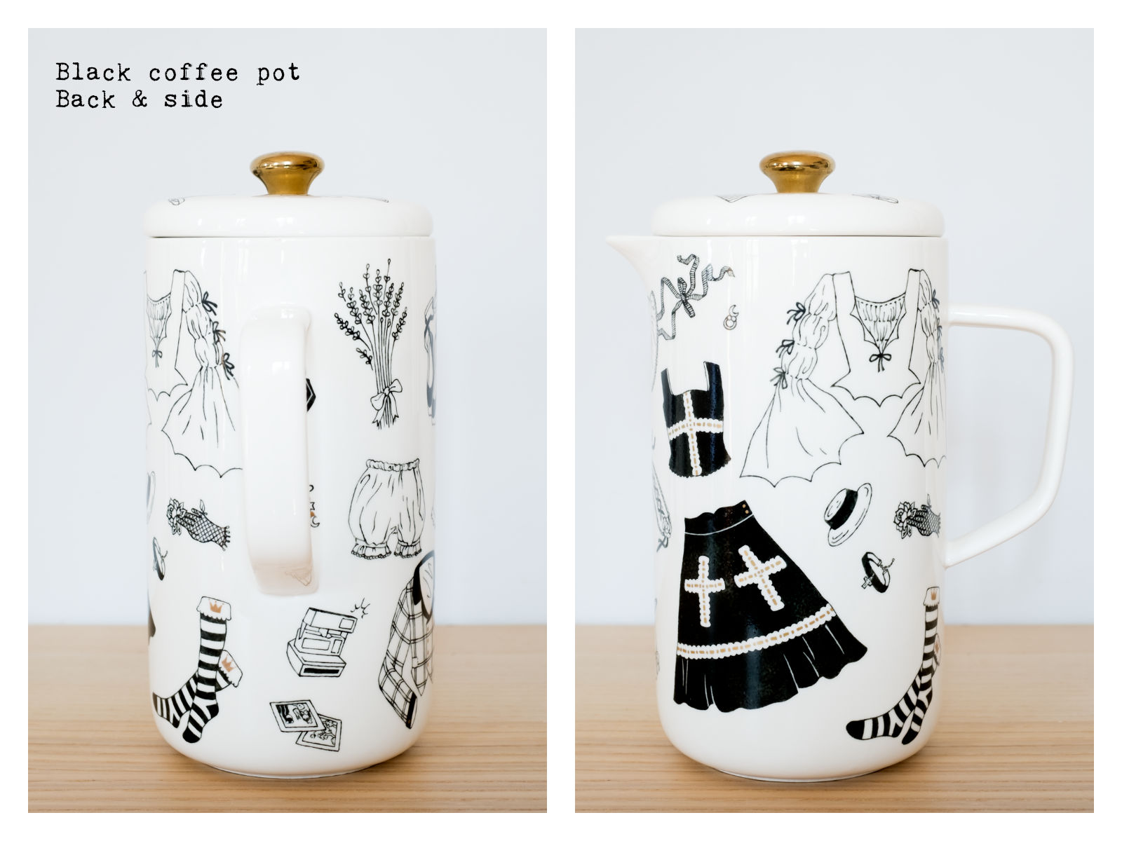 "Back & side of a black coffee pot from ""Oldschool Lolita"", a collection of painted porcelains by messalyn."