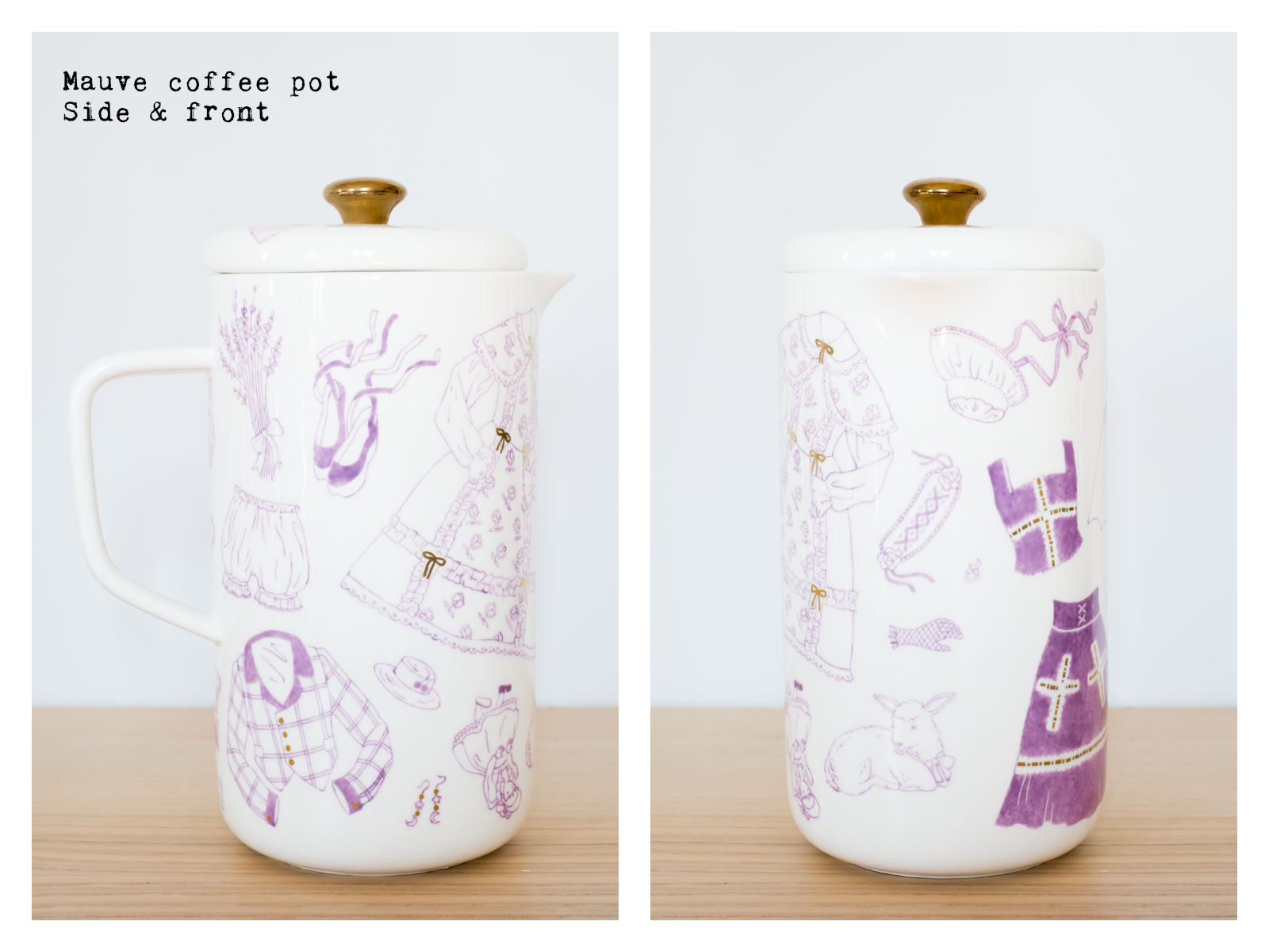 "Side & front of a mauve coffee pot from ""Oldschool Lolita"", a collection of painted porcelains by messalyn."
