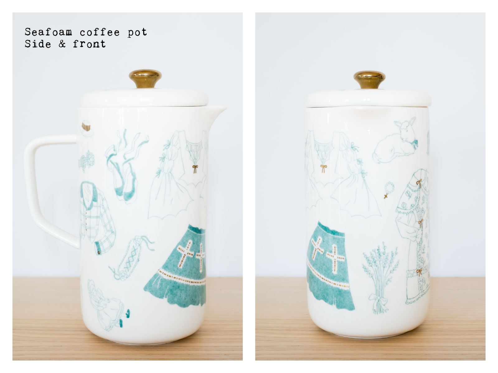"Side & front of a seafoam coffee pot from ""Oldschool Lolita"", a collection of painted porcelains by messalyn."
