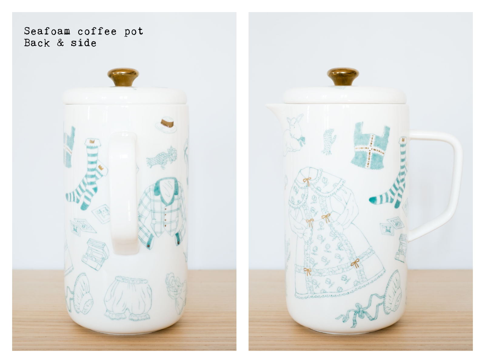 "Back & side of a seafoam coffee pot from ""Oldschool Lolita"", a collection of painted porcelains by messalyn."