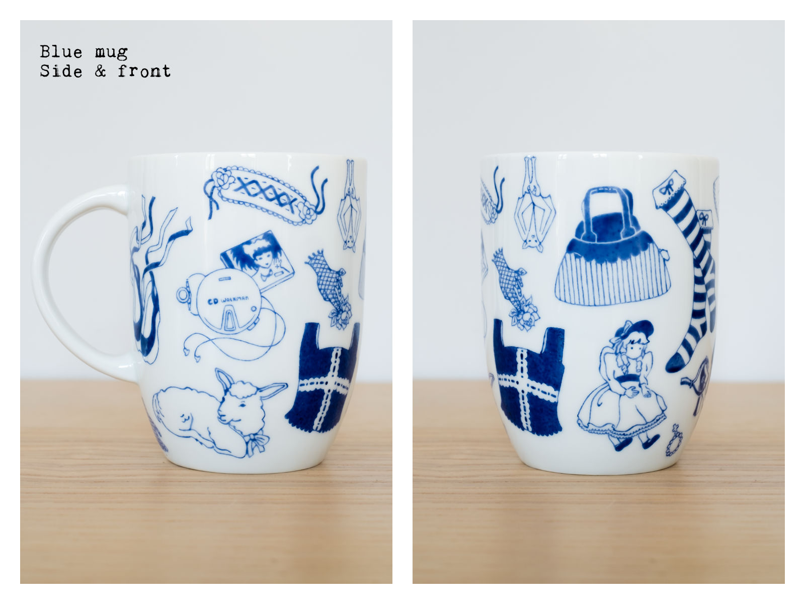 "Side & front of a blue mug from ""Oldschool Lolita"", a collection of painted porcelains by messalyn."