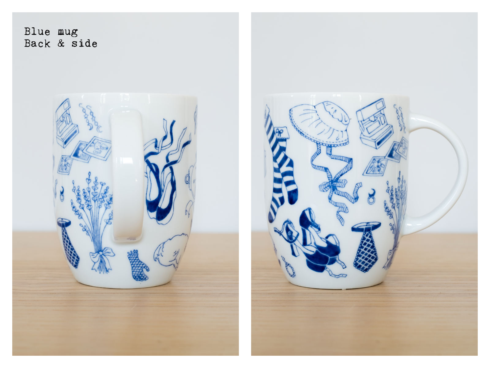 "Back & side of a blue mug from ""Oldschool Lolita"", a collection of painted porcelains by messalyn."