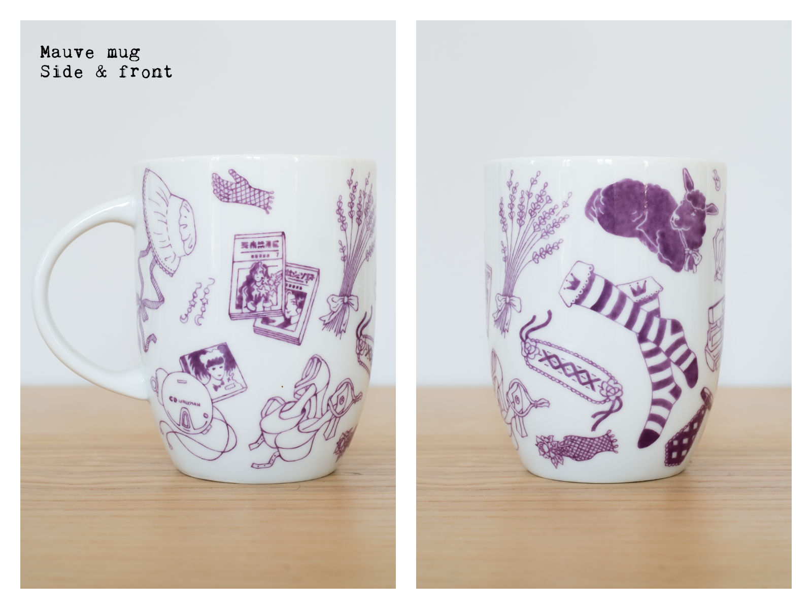 "Side & front of a mauve mug from ""Oldschool Lolita"", a collection of painted porcelains by messalyn."