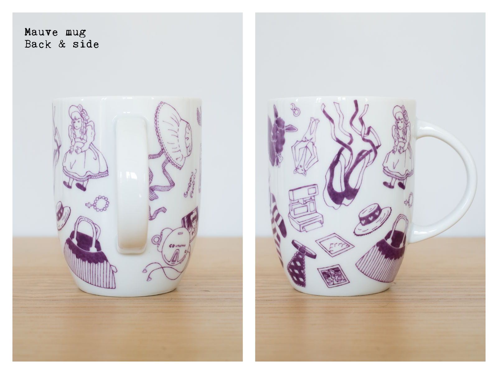 "Back & side of a mauvemug from ""Oldschool Lolita"", a collection of painted porcelains by messalyn."