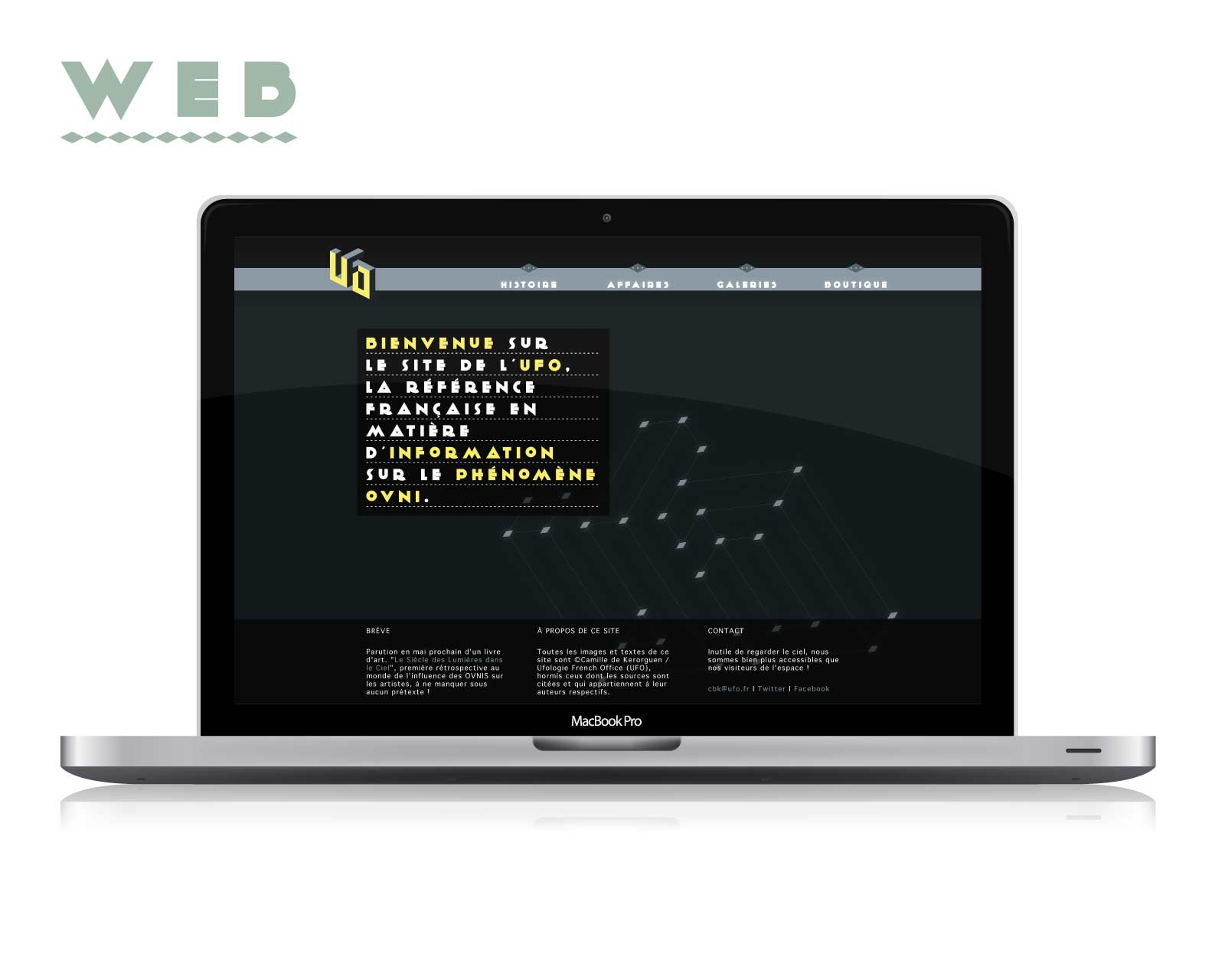 Web design for a school assignement to create the whole visual identity for a fictive worker in the career field of our choice, here an ufologist.