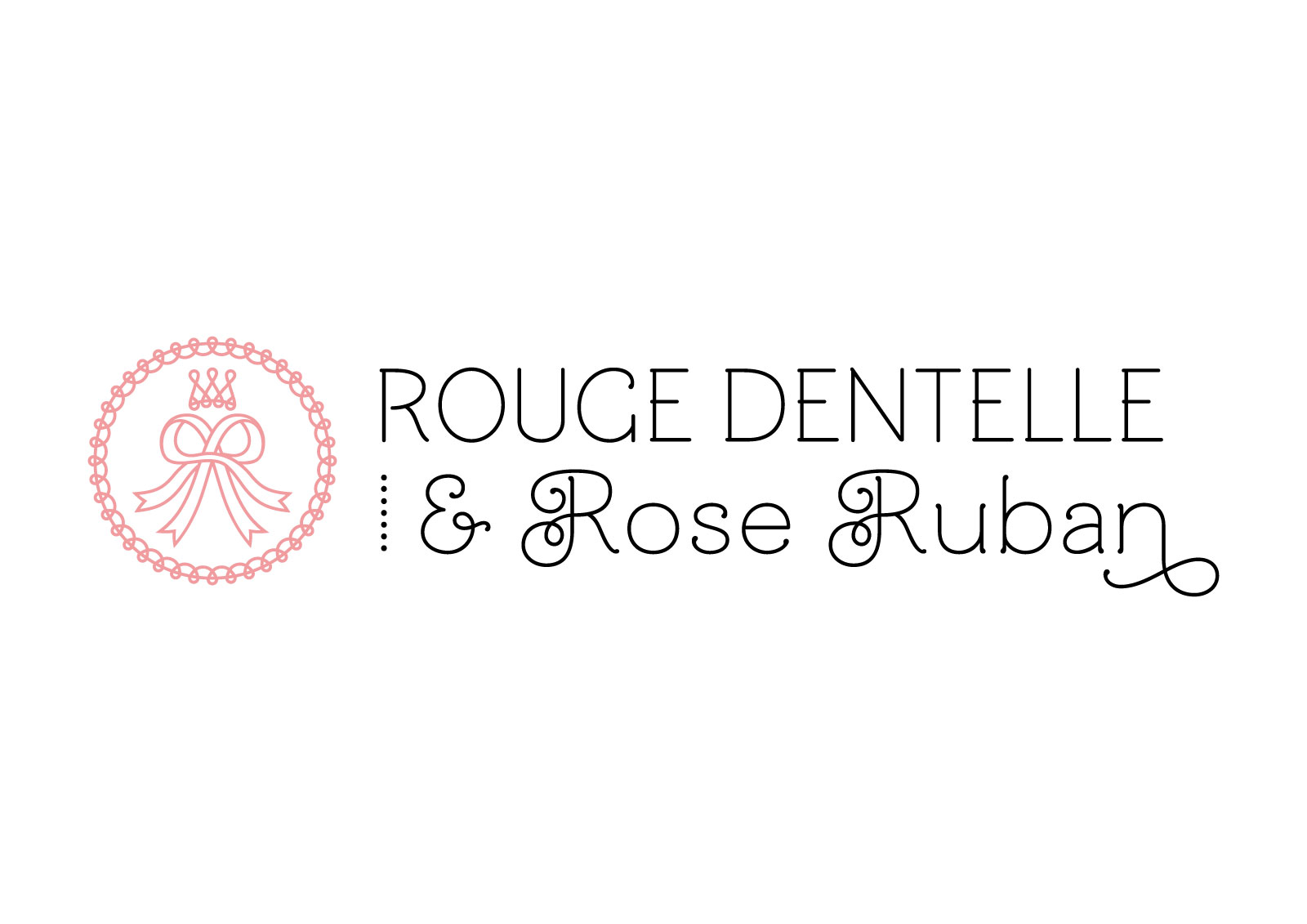 "Logo of french lolita association ""Rouge Dentelle & Rose Ruban"" (horizontal version)."