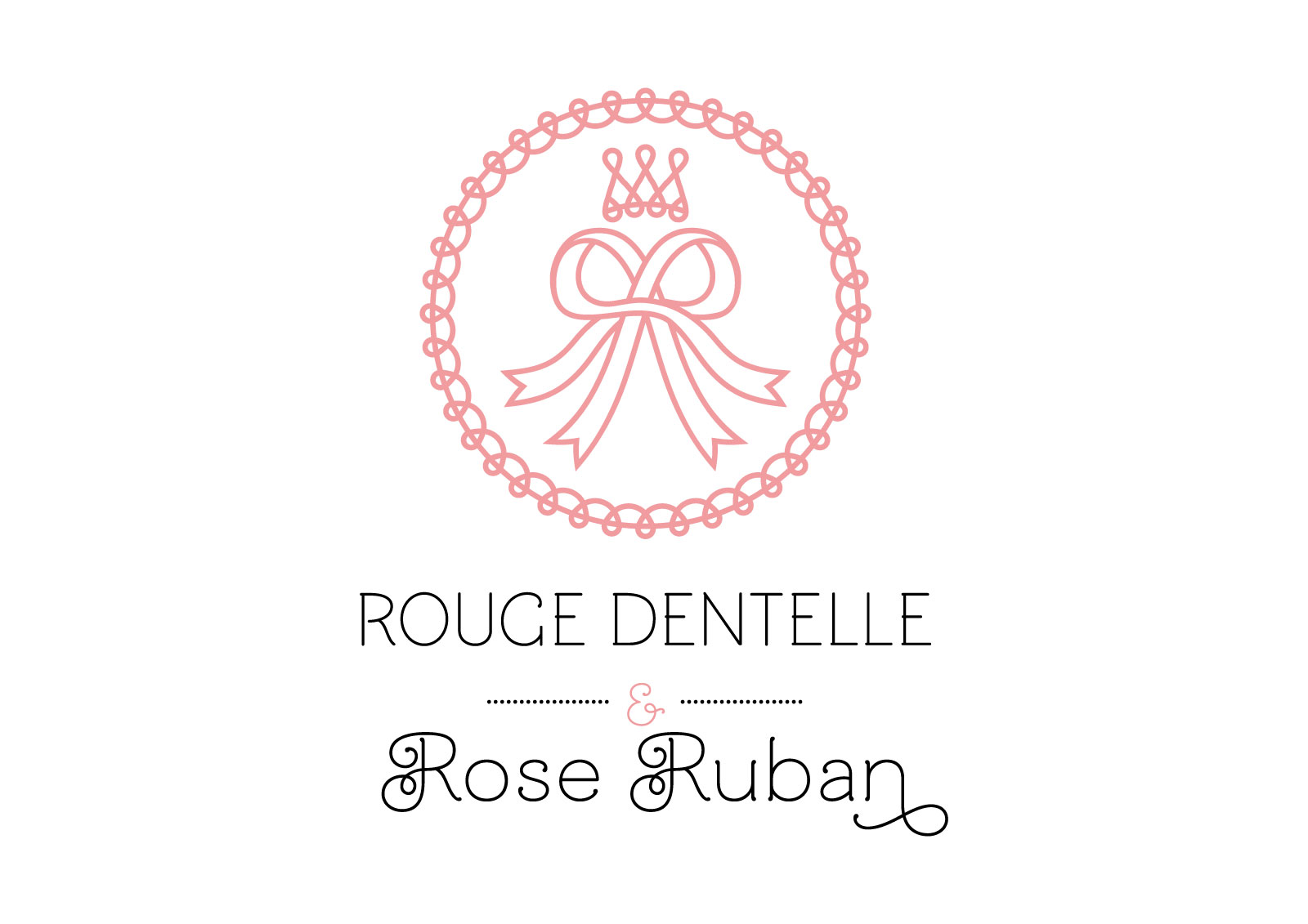 "Logo of french lolita association ""Rouge Dentelle & Rose Ruban"" (vertical version)."