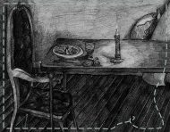 """Dinner with my guests"", an original drawing by messalyn (thumbnail)."