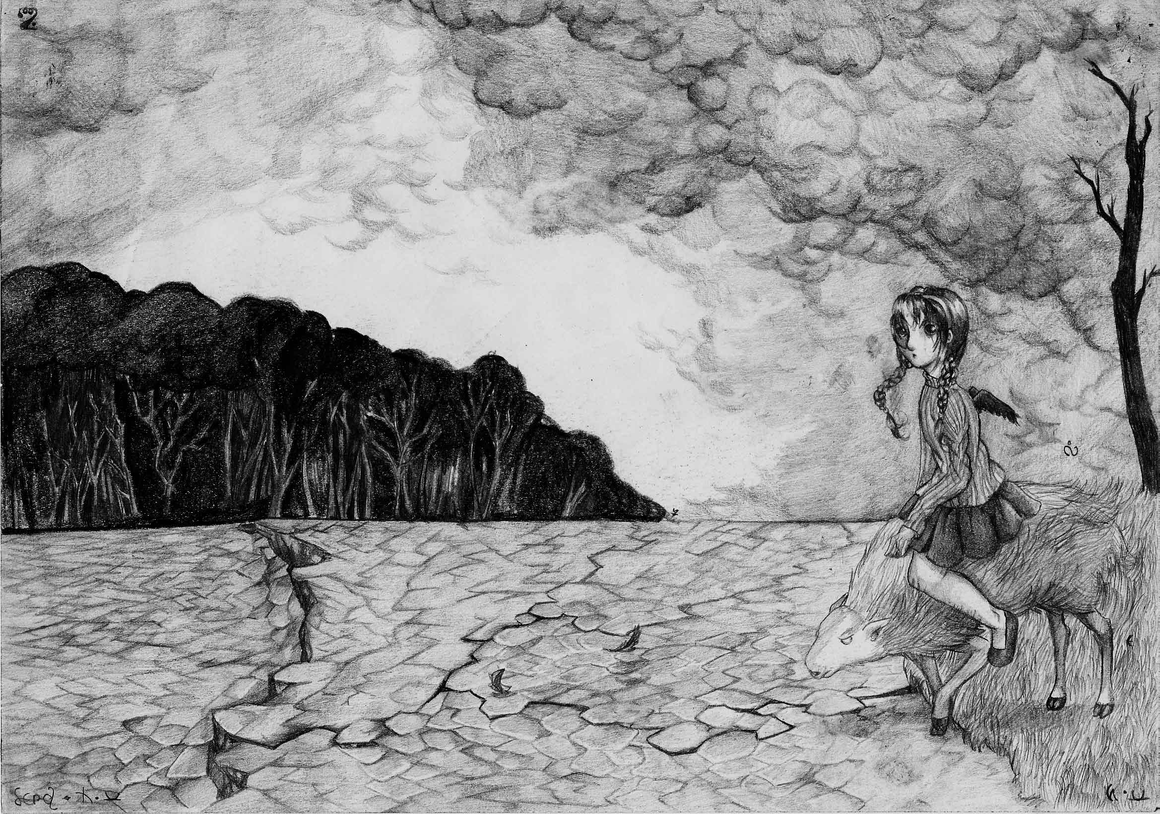 Surreal drawing of a young girl mounted on a sheep is about to cross a very dry land with a forest in sight.