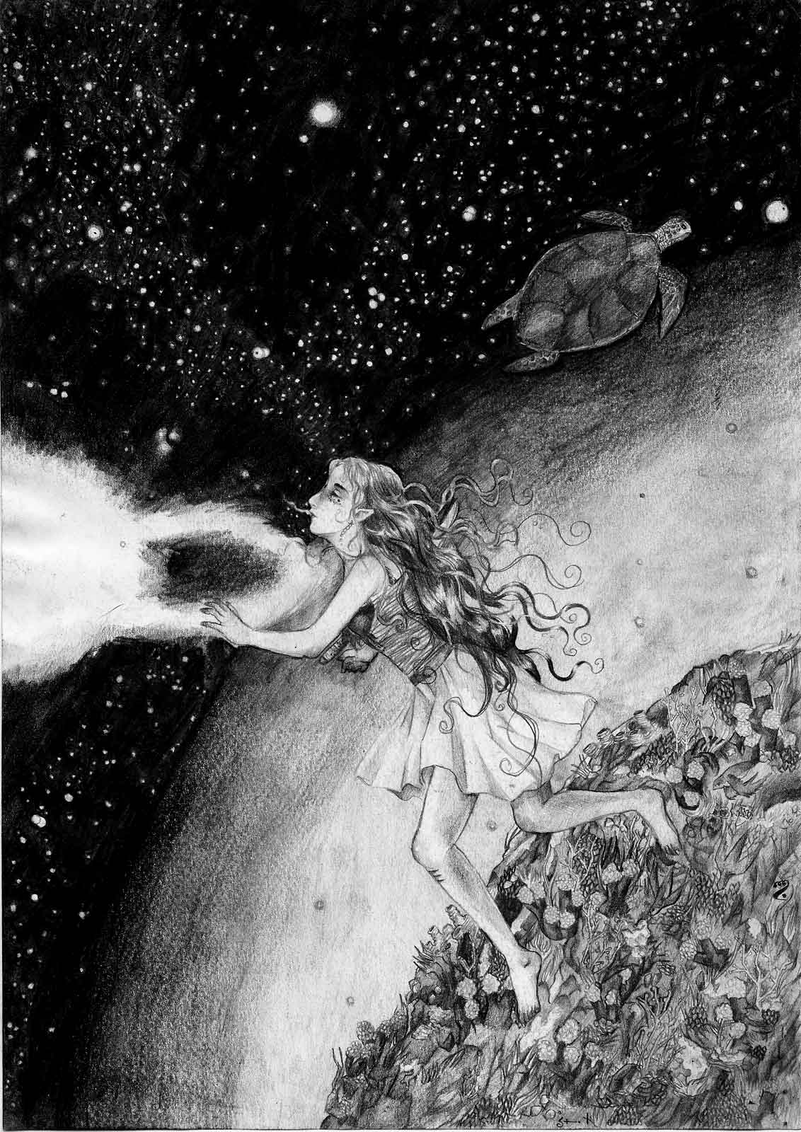 Surreal drawing of a girl with a knife in her chest floating in the cosmos near a planet covered in vegetation, a sea turtle passing by in the background.