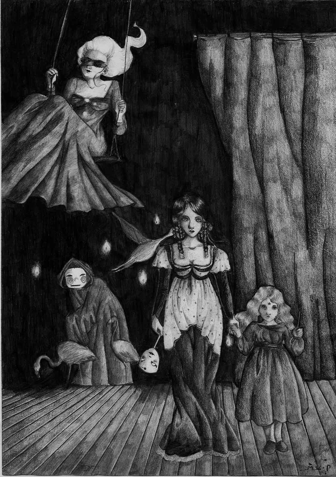 Surreal drawing of a theatre stage with miscellanous odd characters.