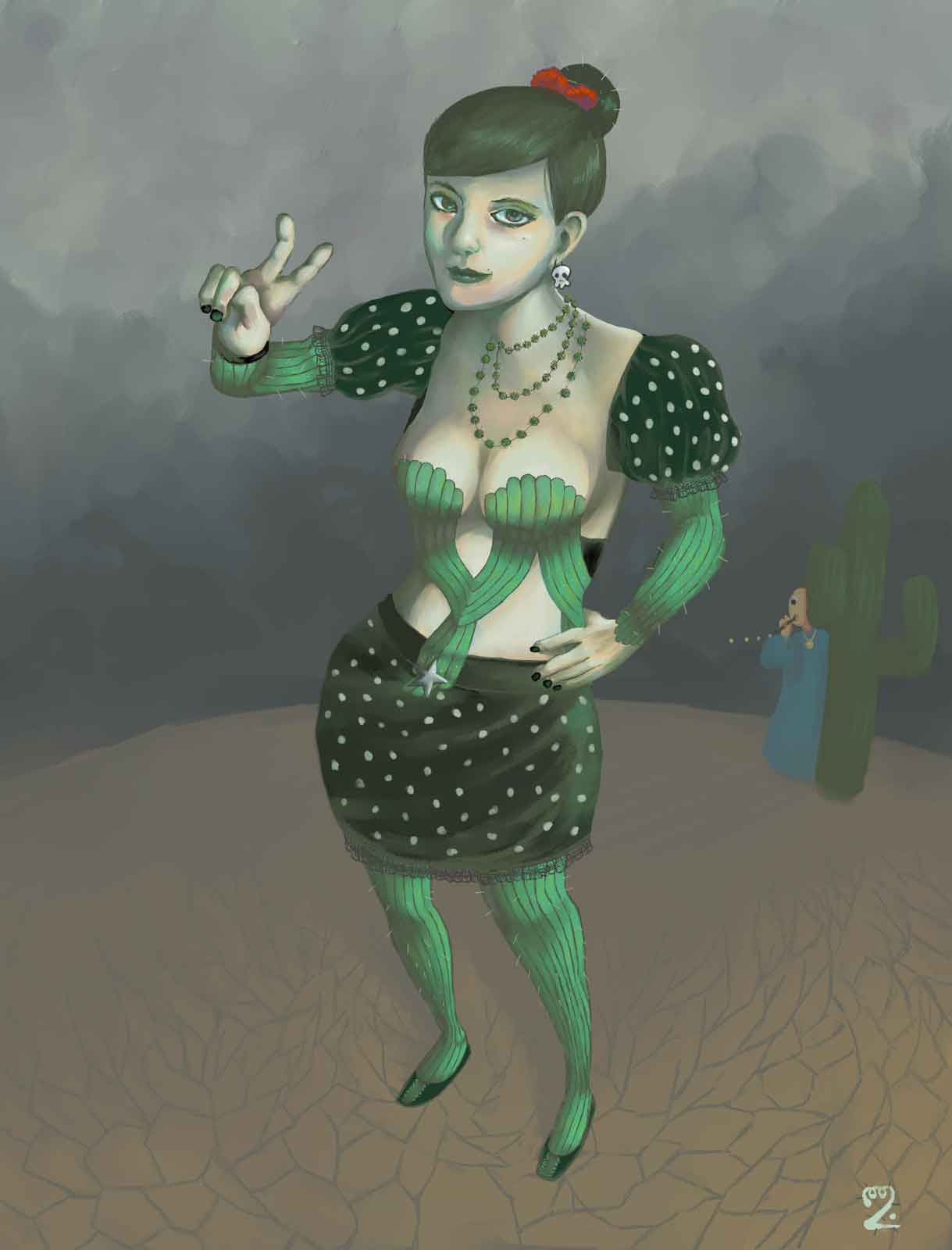 A woman in a desert in a cactus-themed coord with Twinsen from Little Big Adventure 2 in the background.