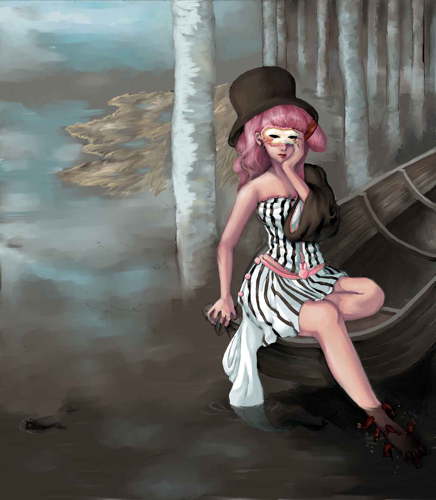 A pink-haired girl in a stripped dress with a mask derivating on a bark in a mangrove swamp of the northern hemisphere amongst birches.